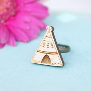 Wooden Teepee Ring - children's jewellery