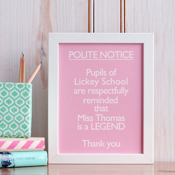 Personalised 'Your Teacher Is A Legend' Print