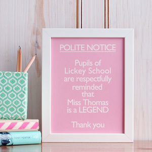 Personalised 'Your Teacher Is A Legend' Print - gifts for teachers