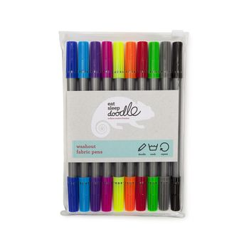 Doodle Wash Out Fabric Pens, Extra Set Of 10