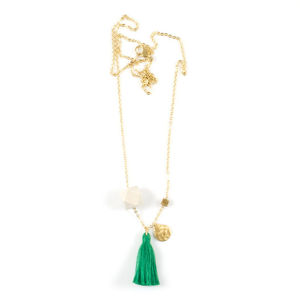 Gold Contrast Tassel Charm Necklace - women's jewellery