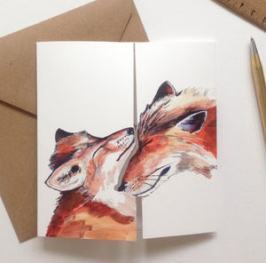 'I Love You' Fox Illustration Greeting Card - wedding cards