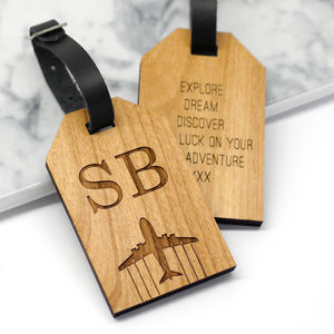 Personalised Wooden Initial Luggage Tag - 5th anniversary: wood