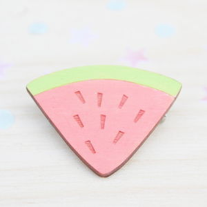 Wooden Watermelon Brooch - pins & brooches