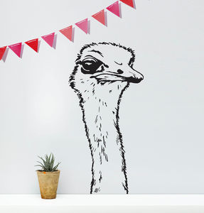 Ostrich Head Wall Sticker - decorative accessories