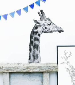 Black And White Giraffe Wall Sticker - kitchen