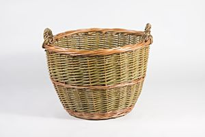 Buff And Green Willow Log Basket