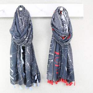 New York City Map Tassel Scarf - women's accessories
