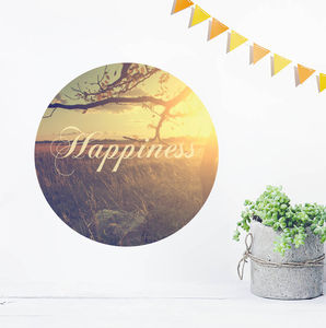 Vintage 'Happiness' Nostalgic Wall Sticker - bedroom