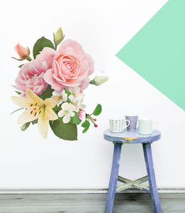 Vintage Inspired Floral Wall Sticker - fresh floral homeware