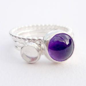 Set Of Three Amethyst And Moonstone Stacking Rings