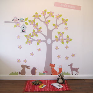 Summer Blossom Tree With Animals - baby's room