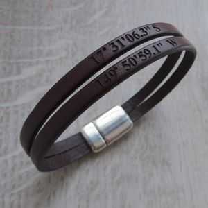 Personalised Double Strap Leather Bracelet - wedding day tokens
