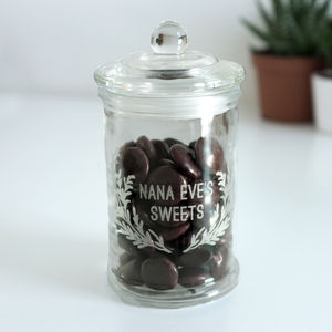 Personalised Glass Sweet Jar In Wreath Design