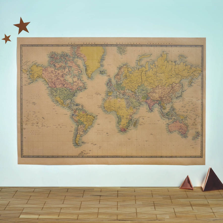 World map vintage style poster by oakdene designs world map vintage style poster gumiabroncs