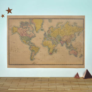 World Map Vintage Style Poster - posters & prints