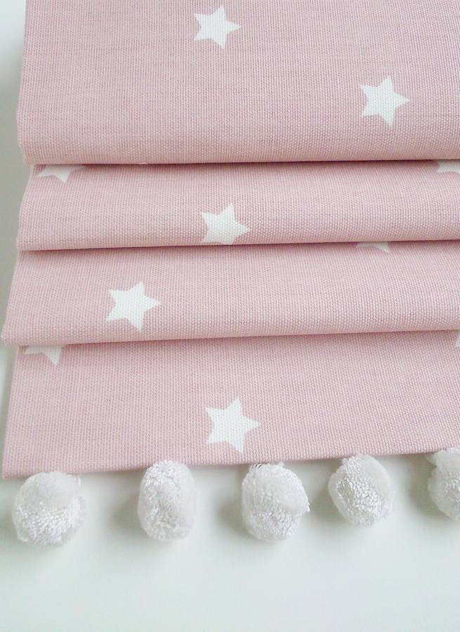 Pink Stars Roman Blind With Pom Pom Trim By The Nursery