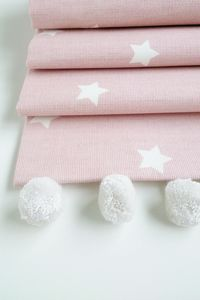Pink Stars Roman Blind With Pom Pom Trim - dining room