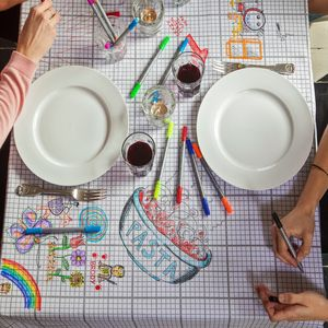 Doodle Tablecloth To Personalise, With Wash Out Pens - bed, bath & table linen