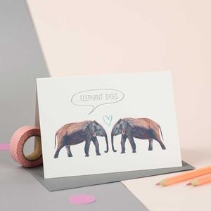 'Elephant Shoes' Illustrated Card - engagement cards
