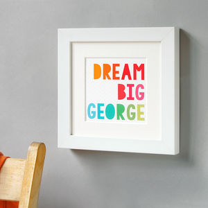 Personalised Dream Big Framed Print - posters & prints for children