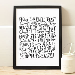 Baking Typographic Print - aspiring chef