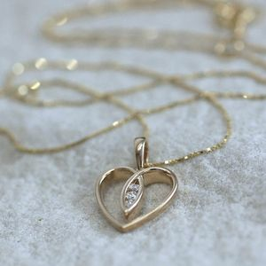 Gold Heart Diamond Necklace - wedding fashion