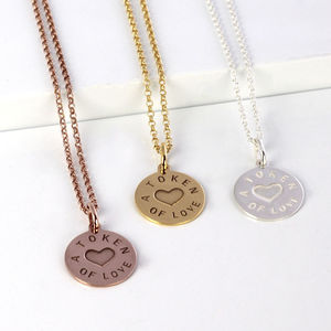 Personalised Silver And Gold Love Token Pendant - jewellery for women