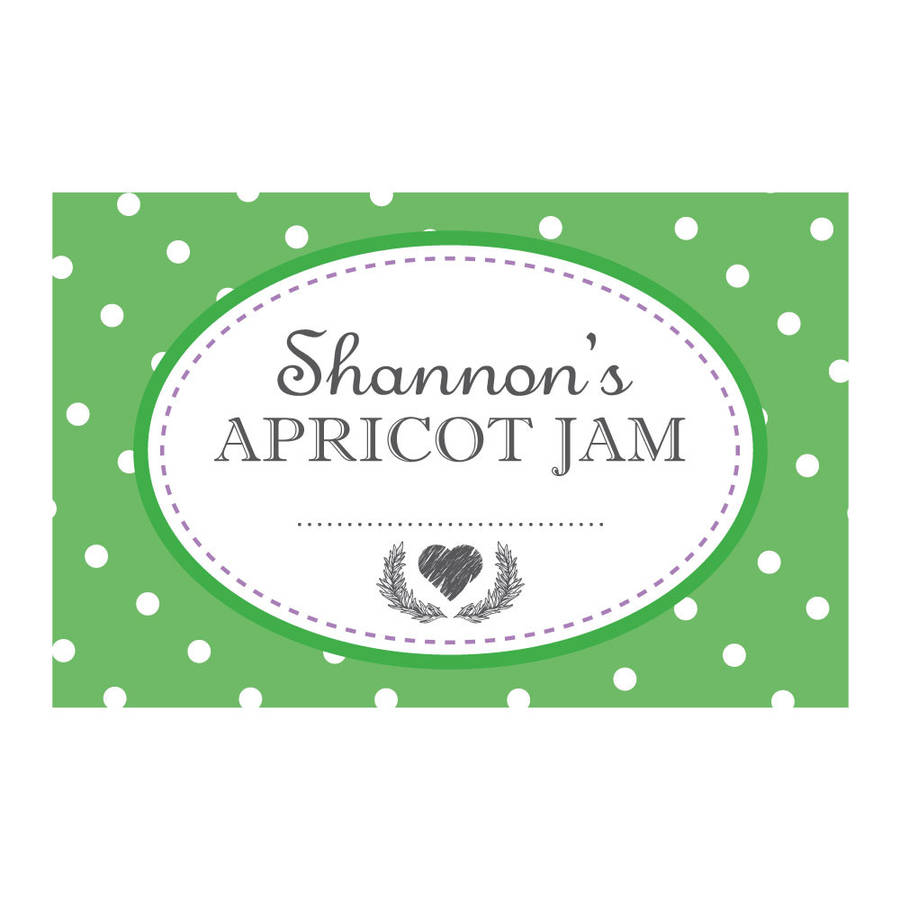 personalised spotty jam jar labels by able labels ...