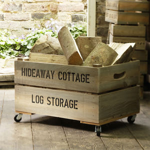 Personalised Log Crate - living room