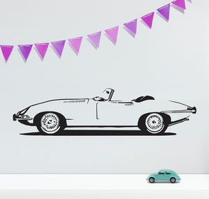 E Type Sports Car Vinyl Wall Sticker - wall stickers