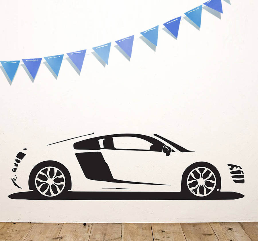 r8 sports car vinyl wall stickeroakdene designs