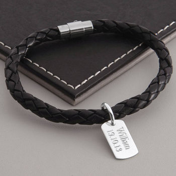 Men's Personalised Silver Dog Tag Leather Bracelet