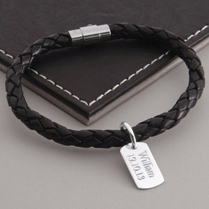 Men's Personalised Silver Dog Tag Leather Bracelet - gifts £25 - £50 for him