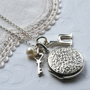 Silver Floral Round Locket - necklaces & pendants