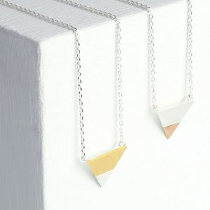 Mixed Metal Dipped Triangle Necklace