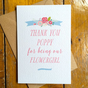 Personalised Ribbon Thank You Flowergirl Card - wedding thank you gifts