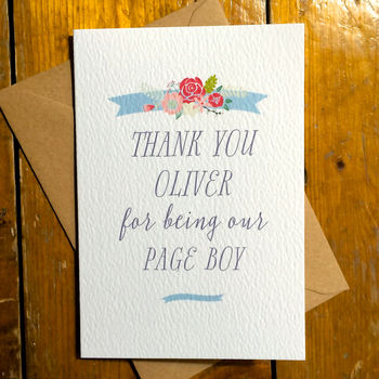 Personalised Ribbon Thank You Page Boy Card