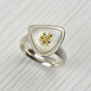 Silver And 18ct Gold Cluster Ring