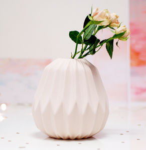 Fluted Folded Origami Blush Pink Vase - vases