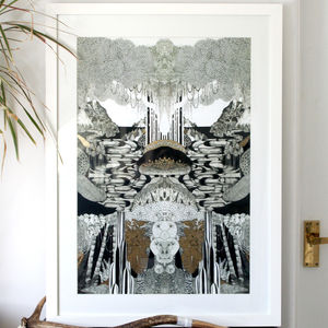 Neverland Illustrated Print With Gold Leaf - modern & abstract