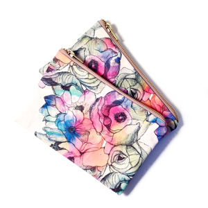Flower Print Makeup Bag