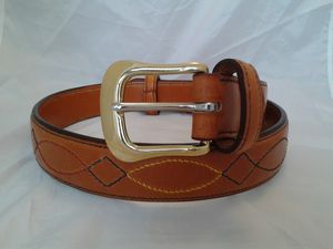 Handstitched Decorated Raised English Leather Belt - womens