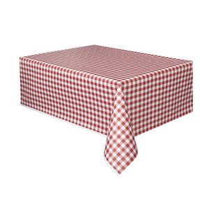 Picnic Party Red Gingham Plastic Tablecloth - table linen