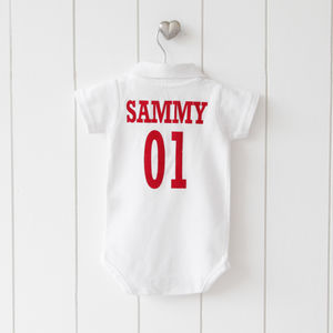 Personalised Football Polo Shirt Babygrow - gifts for football fans