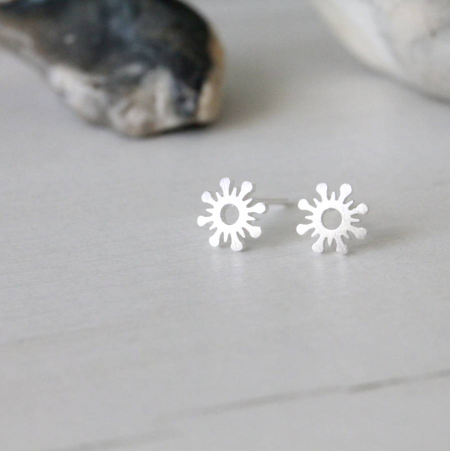 Silver Sunshine Ear Studs Earrings