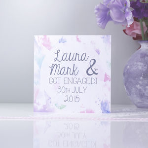 Personalised 'Engagement' Watercolour Card