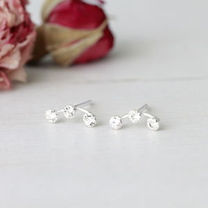 Silver Three Diamante Ear Studs - winter sale