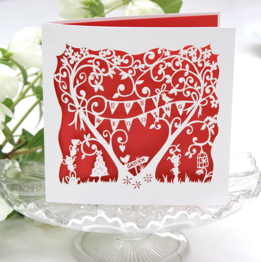 Ruby wedding anniversary card laser cut by the hummingbird