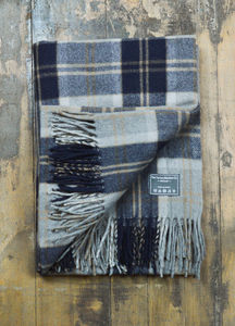 Classic Wool Blanket In Silver Bannockbane Tartan - throws, blankets & fabric